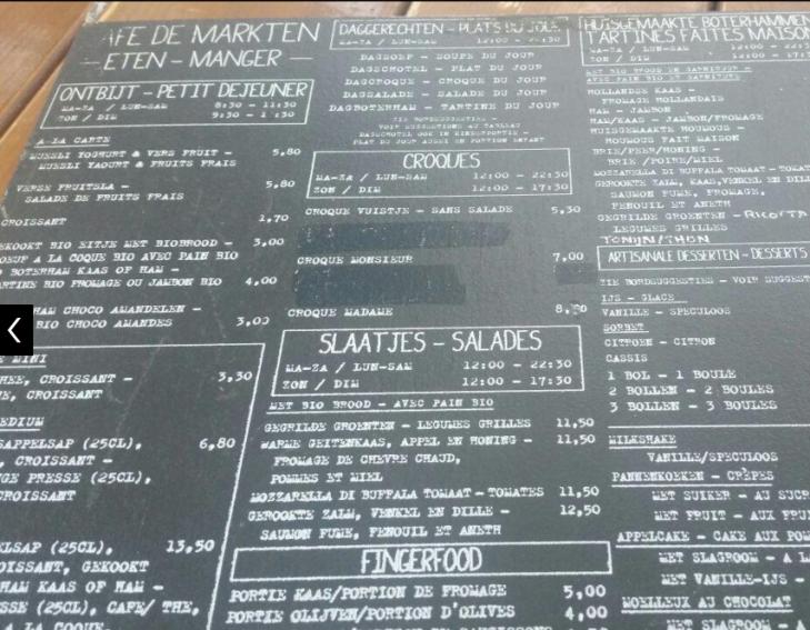 Menue De Markten Café