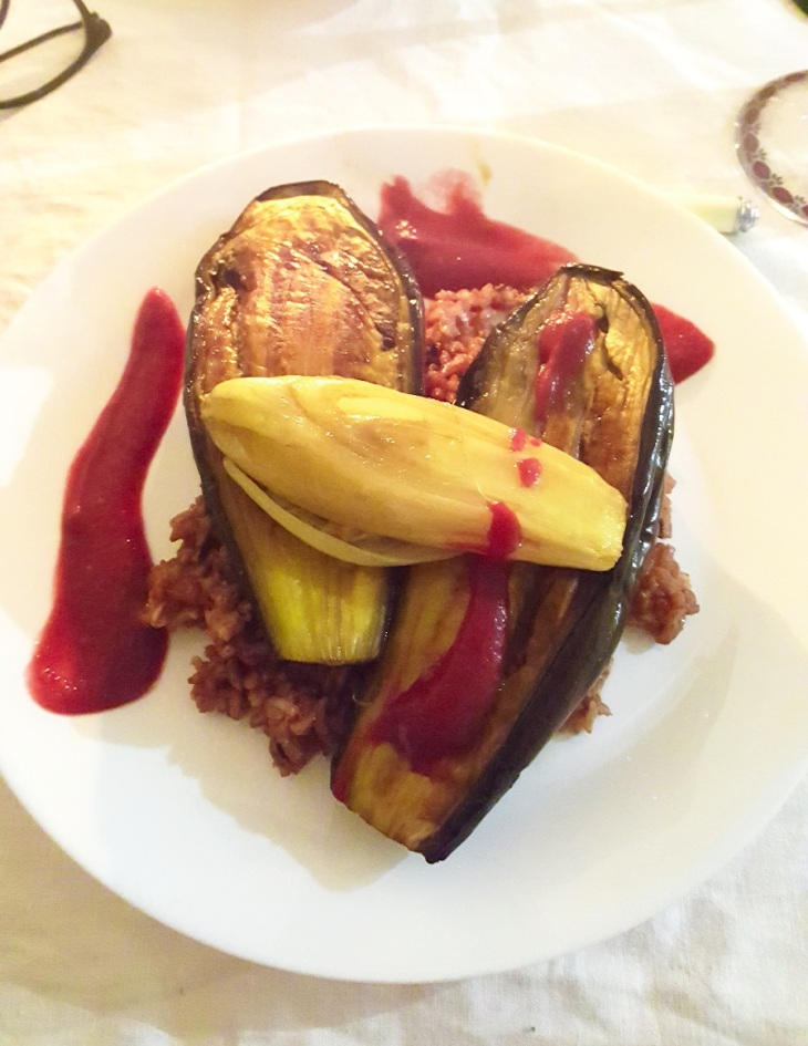 Wildrice with Eggplants and Chicory